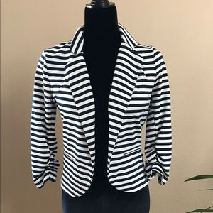 Navy and white stripped jacket xs